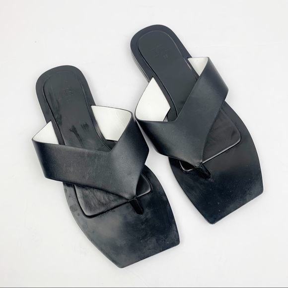 Zara | Square Toe Minimal Flat Sandals Black